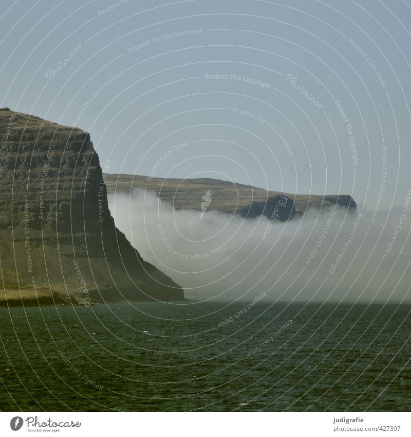 Island Umwelt Natur Landschaft Wasser Himmel Wolken Klima Wetter Felsen Küste Bucht Fjord Meer Westfjord außergewöhnlich natürlich wild Stimmung Farbfoto