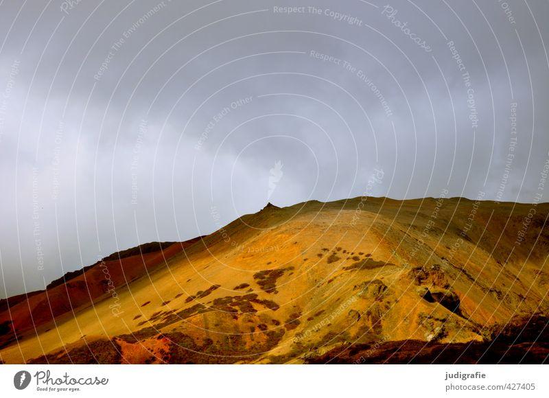 Island Umwelt Natur Landschaft Urelemente Erde Himmel Klima Hügel Felsen Vulkan leuchten außergewöhnlich natürlich wild Stimmung Rhyolith Farbfoto Außenaufnahme