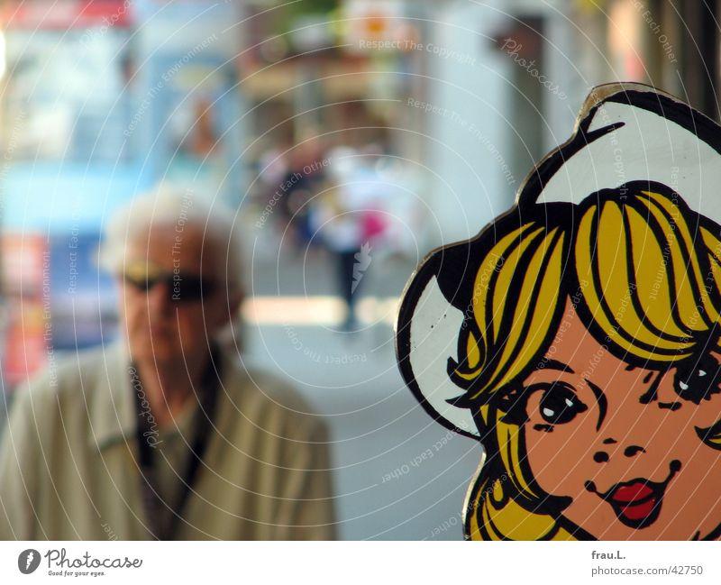 alt + niedlich Frau Frauengesicht Porträt graphisch Grafik u. Illustration Comic Comicfigur Blick in die Kamera Anschnitt Bildausschnitt Zeichnung