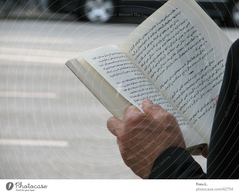 Literatur poetisch klug Bushaltestelle Buch Mann Hand Text Licht Verkehr lesen Moral persisch literaturtage Straße Leben Sonne warten PKW Arme