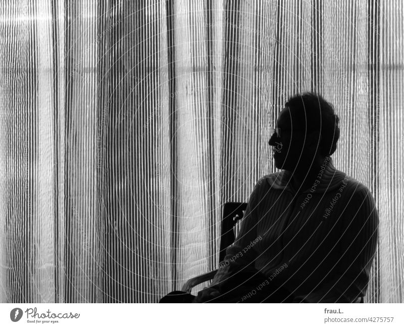 Dekorativ rumsitzen Porträt Brille Mann Gesicht Profil Gardine Mensch Silhouette Sessel