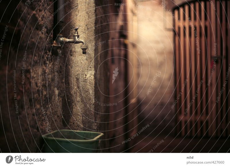 Keller dunkel kalt Wand Mauer grau braun gruselig feucht Wasserhahn Eimer faulig