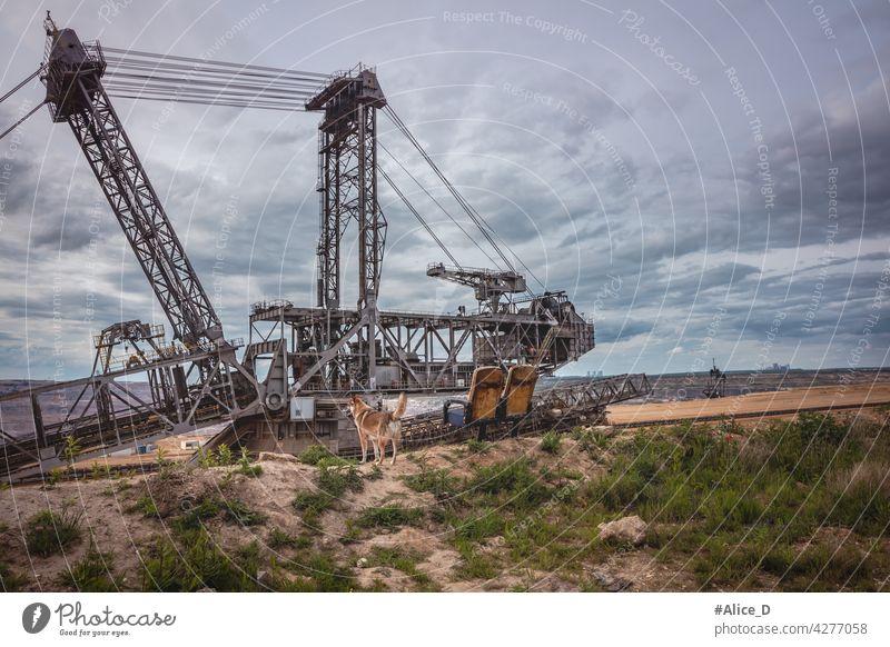 Hambach RWE-Braunkohlerevier Hintergrund groß Kohle Kohlekraftwerk Förderband Zerstörung Bagger Schürfen Energie Umwelt umgebungsbedingt Gerät Europa