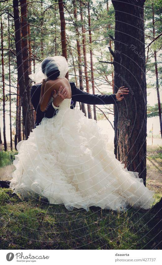 Mensch Natur Jugendliche Sommer Sonne Baum Freude Junge Frau Wald Erwachsene Junger Mann 18-30 Jahre Liebe feminin Freiheit Paar