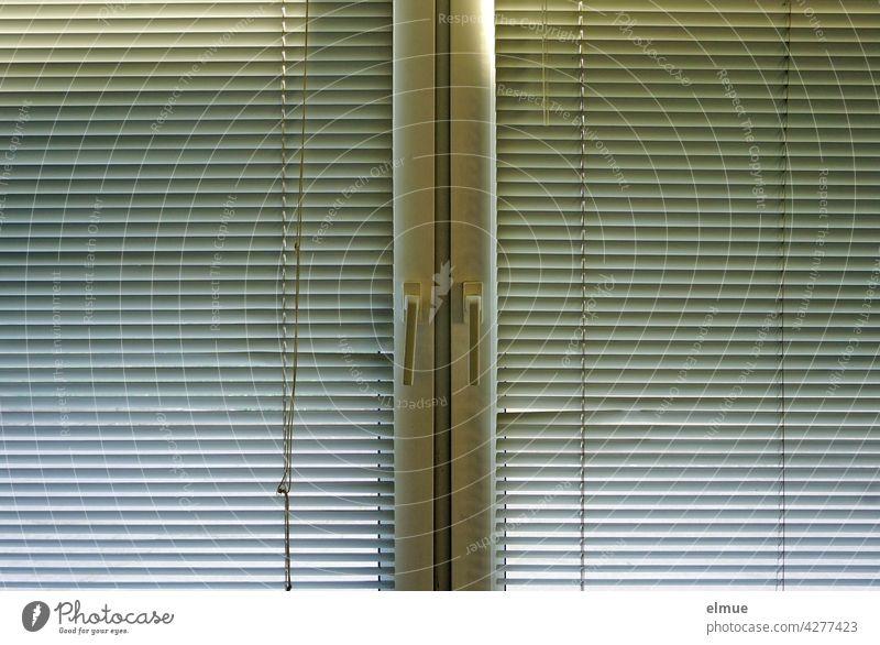 Doppelfenster von innen an dem zwei Plisseejalousien aus Metall befestigt sind / Sichtschutz / Verdunkelung Jalousie Fenster Sonnenschutz verdecken geschlossen