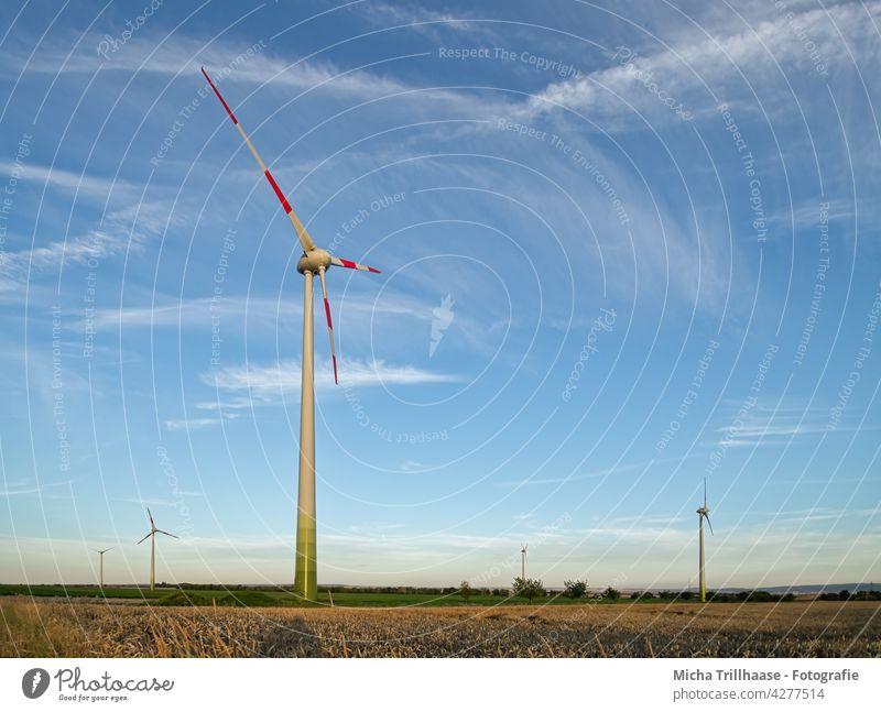 Windräder in der Landschaft Windkraftanlage Erneuerbare Energie Technik & Technologie Energiewirtschaft Landwirtschaft Nachhaltigkeit Elektrizität Strom