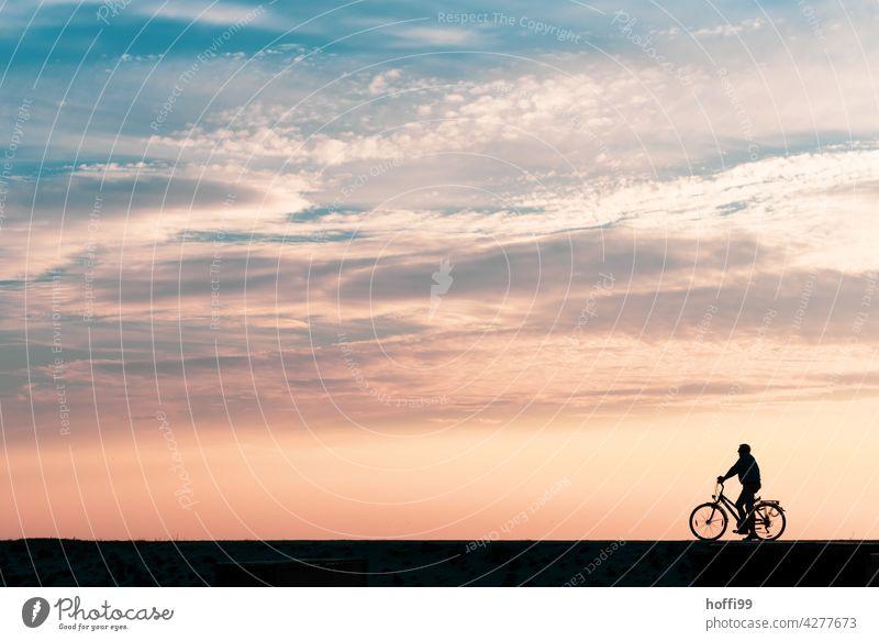 ein Mann wartet in der Abendsonne auf seinem Fahrrad am Deich Sonnenuntergang Sommerurlaub Insel Warten eine Person Sonnenuntergangshimmel Strand Minimalismus