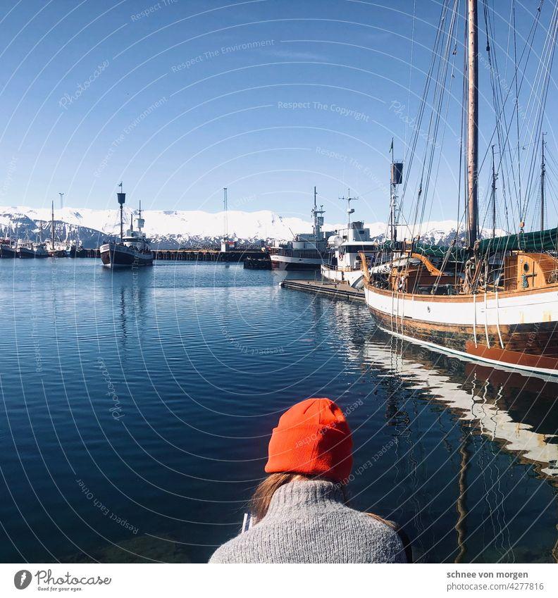 Orangene Mütze am Hafen Meer Sommer Urlaub Schiffe Boote Umwelt Wasser Himmel Ferien & Urlaub & Reisen Küste Natur blau Außenaufnahme Landschaft Wale Bucht