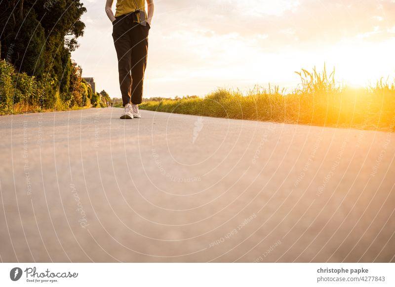 frau spaziergang abends auf feld, tiefstehende Sonne Frau Spaziergang Feld Abend feldweg Abendlicht Sommer spazieren gehen Wege & Pfade Mensch Außenaufnahme