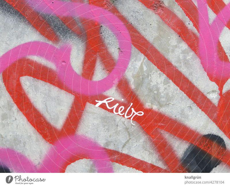 Liebe Graffiti Gefühle Typographie Wand Mauer gesprayt urban Schriftzeichen Außenaufnahme Farbfoto Menschenleer Tag Buchstaben Straßenkunst Kreativität Kultur