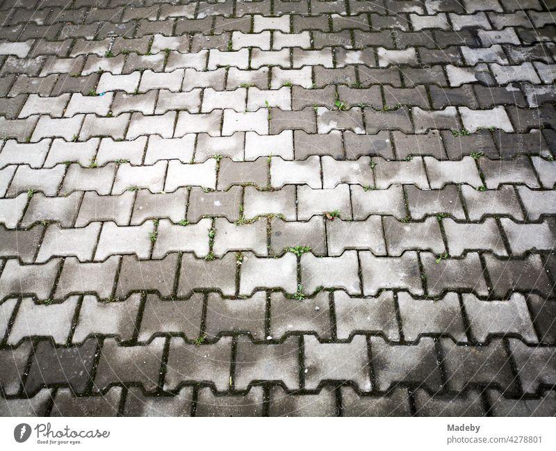 Abtrocknendes graues Verbundpflaster nach dem Regen in Adapazari in der Provinz Sakarya in der Türkei Pflaster Straßenpflaster Weg Gehweg Bürgersteig Muster