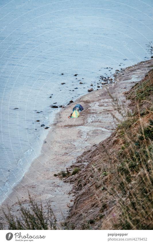 Wildcampen an der Ostsee Zelt Zeltplane Zelten Farbfoto Außenaufnahme Camping Abenteuer Ferien & Urlaub & Reisen Landschaft Freiheit Tourismus Erholung