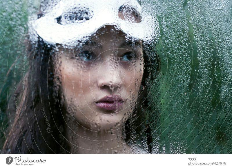 water drops feminin Mädchen Junge Frau Jugendliche 1 Mensch 13-18 Jahre Kind 18-30 Jahre Erwachsene Maske schwarzhaarig langhaarig Blick träumen schön weich