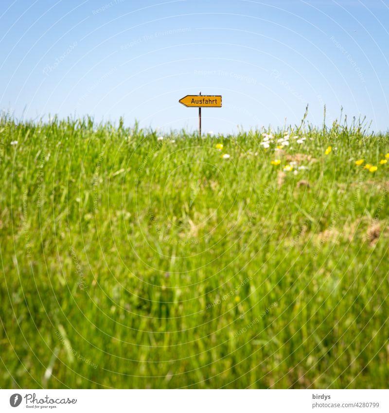 Ausfahrt, Richtungsweiser auf einem mit Gras bewachsenen Hügel Pfeil Orientierung Verkehrsschild wegweisend Symbolbild Ausweg Hoffnung Wiese Wolkenloser Himmel