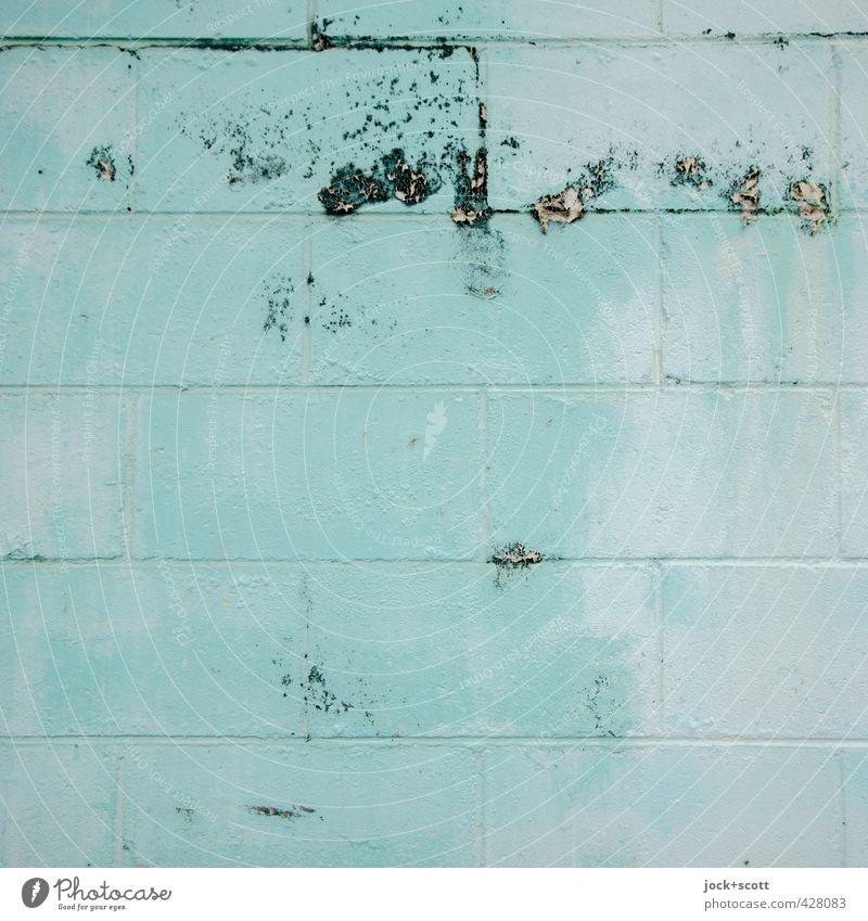 turn sour blue Wand Backstein einfach exotisch fest trashig türkis Farbe Leichtigkeit einfarbig abgeplatzt Wasserschaden Fleck verwaschen Zahn der Zeit