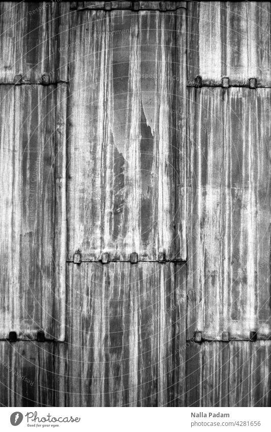 Bleierne Außenhaut eines Theaters analog Analogfoto sw Schwarzweißfoto schwarzweiß Fassade Architektur Linie Streifen Platten Haut Außenaufnahme Wand