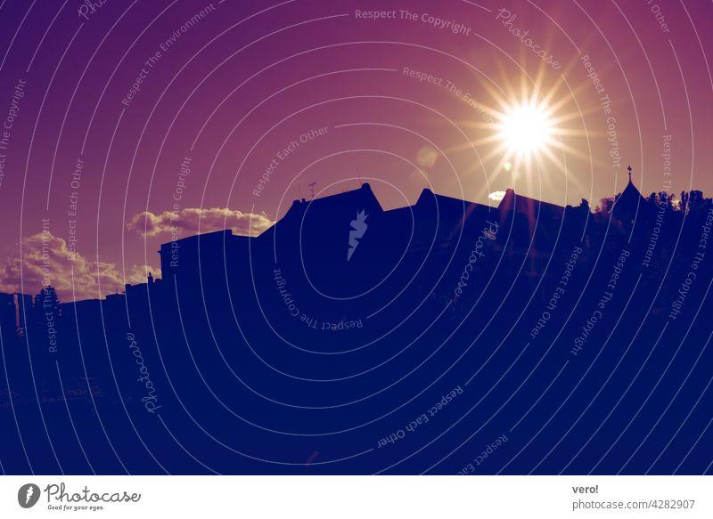 Stadt, Silhouette, Sonne Menschenleer Stimmung Scherenschnitt Schattenriss Gegenlicht Schwarz Horizont Himmel Sonnenlicht Natur Panorama Außenseite dunkel
