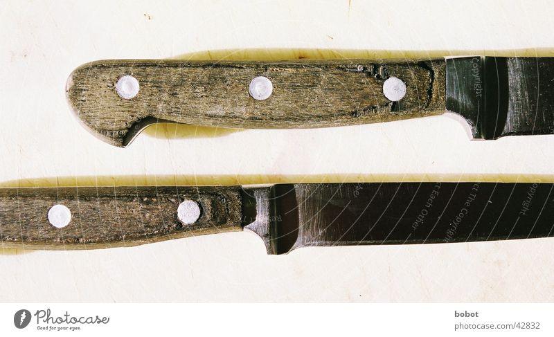 Klingen Stahl geschnitten Küche Furche Teilung Handwerk Messer Griffe Holzgriffe Niete Trennung schlitzen Scharfer Gegenstand