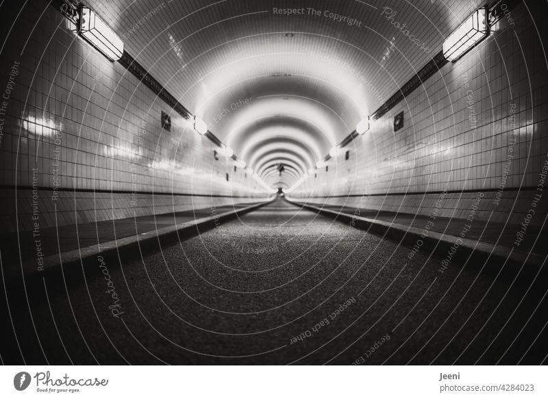 Sogwirkung Tunnel Tunnelblick geradeaus Linie Linien Flucht nach vorne blicken Zentralperspektive Architektur Licht Fluchtpunkt Beleuchtung leer Symmetrie