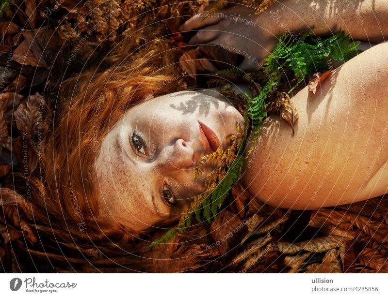 Schöne sexy schöne junge Rothaarige Mädchen auf rot goldenen Herbst Blätter liegen, mit einem Wedel von Farn auf seinem Kinn, im Wald, mit freundlichen verführerischen Lächeln im Gesicht