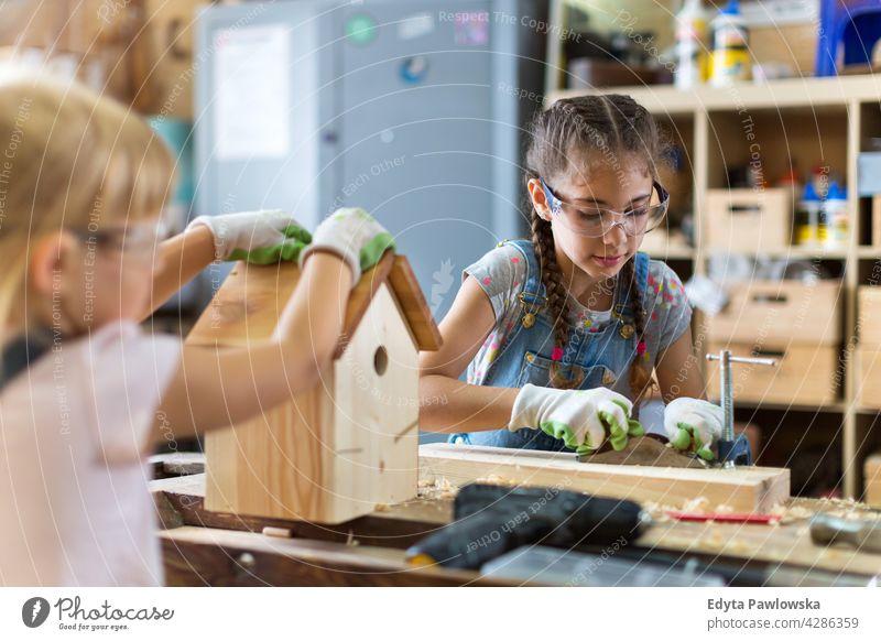 Zwei kleine Mädchen bauen Vogelhaus in der Garage Werkstatt arbeiten Menschen Kind Kinder Frauenpower Fähigkeit Handwerk Hobby Lifestyle Werkzeuge Konzentration