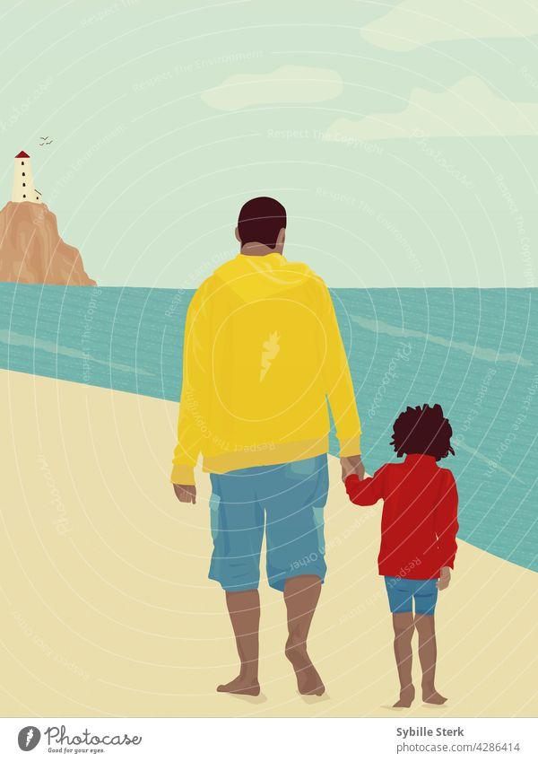 Vater und Sohn gehen Hand in Hand am Strand spazieren Eltern Seeküste Leuchtturm Barfuß Wellen Blauer Himmel Feiertag Sommer Glück glückliche Familie Bonden