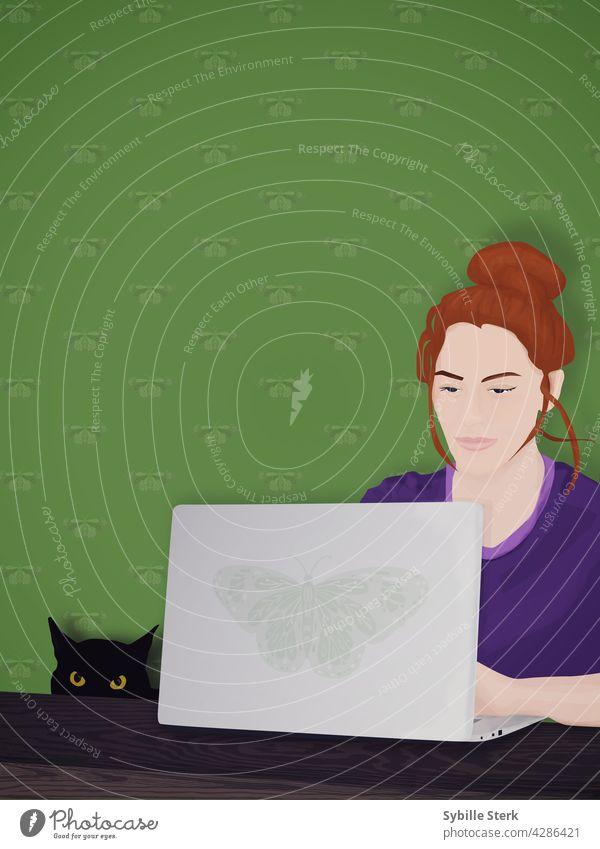 Frau arbeitet von zu Hause aus mit schwarzer Katze arbeiten von zu Hause aus arbeiten Laptop Junge Frau rote Haare Motte schwarze Katze katzenhaft Begleiter
