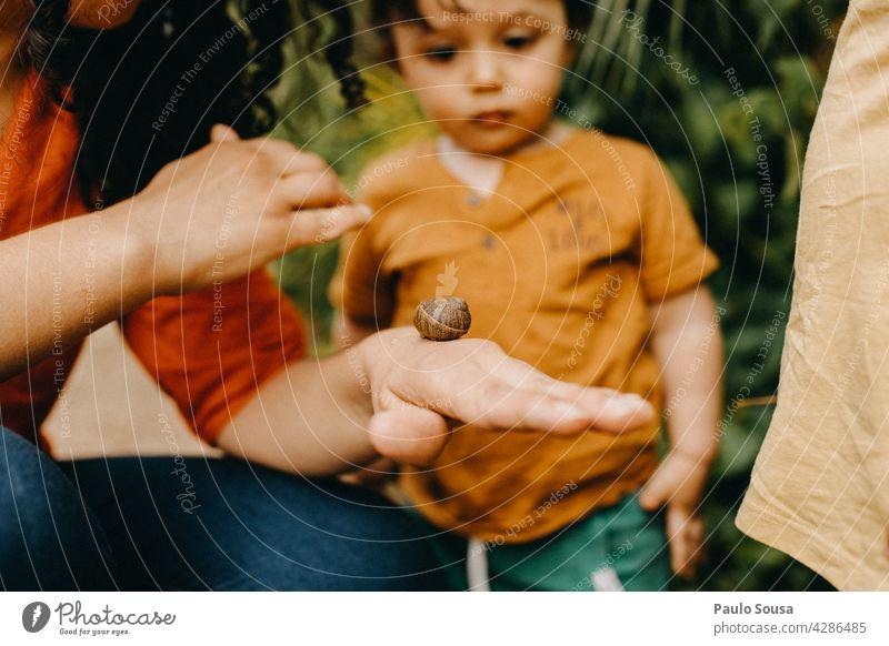 Mutter zeigt Kindern Schnecke Mutterschaft Kaukasier 1-3 Jahre Riesenglanzschnecke Eltern niedlich Liebe Zusammensein Familie & Verwandtschaft