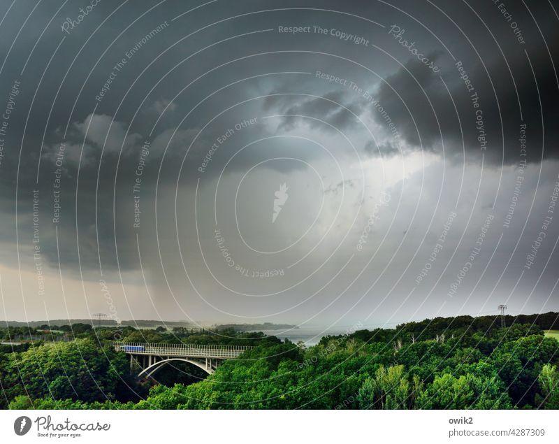 Unwetterwarnung Gewitter Regen schlechtes Wetter Gewitterwolken Wasser bedrohlich Endzeitstimmung nass dunkel Apokalypse Starkregen Außenaufnahme Menschenleer