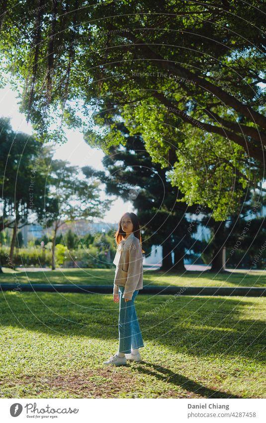 Hübsches Mädchen stehend unter dem Baum Sonnenlicht Porträt asiatisch Erwachsene schön Junge Frau Mode Beautyfotografie Außenaufnahme attraktiv Model hübsch