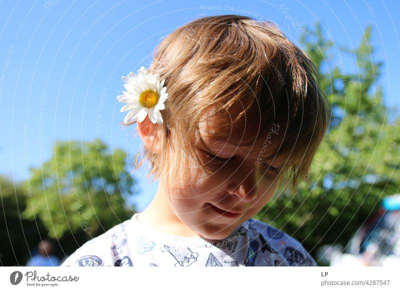 Kind trägt ein Gänseblümchen im Haar Stil Design Muttertag Mensch Gefühle Blume Farbfoto Blüte Frühling Eltern Natur Kontrast Hintergrund neutral