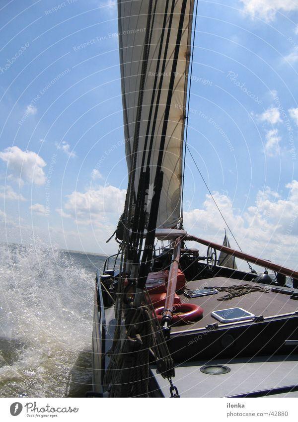 Schieflage Wasser Sonne Meer Sommer Ferien & Urlaub & Reisen Wasserfahrzeug Wellen Segeln Schifffahrt Ijsselmeer