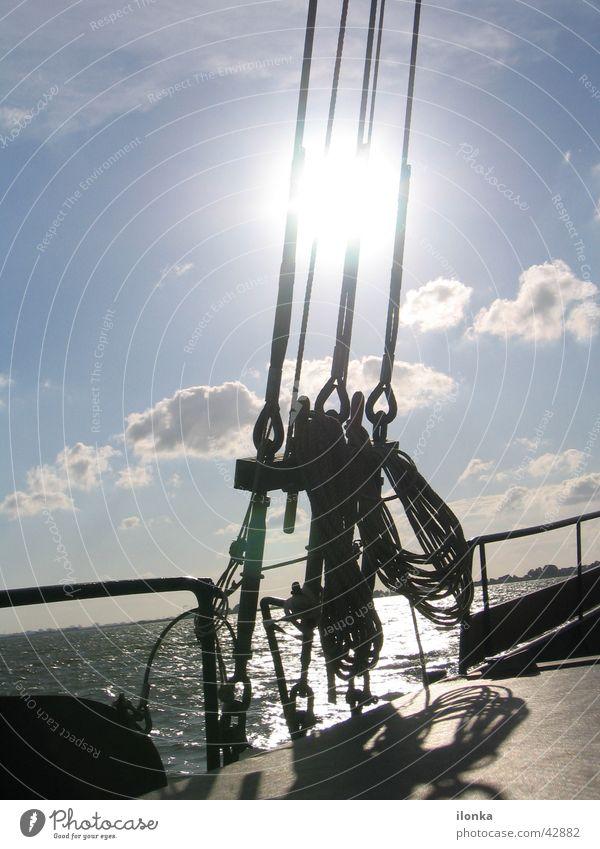 Takelage Segeln Sommer Ferien & Urlaub & Reisen Wasserfahrzeug Meer Schifffahrt Seil Sonne