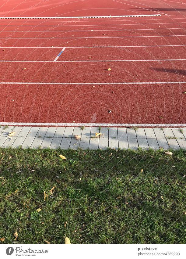 Sportplatz im Herbst Laufbahn Sportveranstaltung Sonnenlicht grün rot Sportstätte leeres Stadion Fußballstadion Fußballplatz Sportarena Lockdown