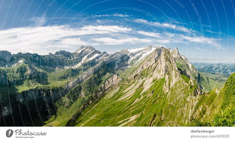Alpstein Schäfler Sommer Berge u. Gebirge Klettern Bergsteigen Natur Landschaft Wolken Wiese Alpen Abenteuer Ferien & Urlaub & Reisen Tourismus Tradition gipfel