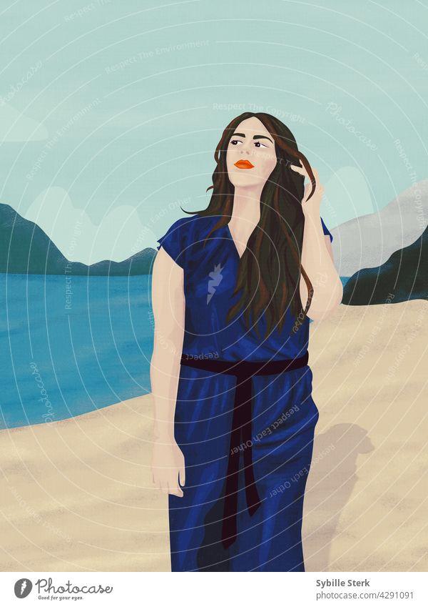 Hübsches Mädchen am Meer Junge Frau lange Haare brünett Overall Seeküste großes Mädchen MEER Steine Hügel Wolken Strand Blauer Himmel Liebe Romantik