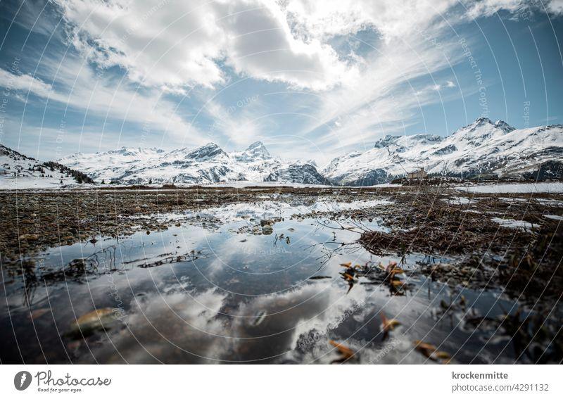 hochalpine Moorlandschaft auf der Alp Flix in der Schweiz Graubünden Alpen Berge u. Gebirge Außenaufnahme Himmel Tag Kanton Graubünden Gipfel Umwelt