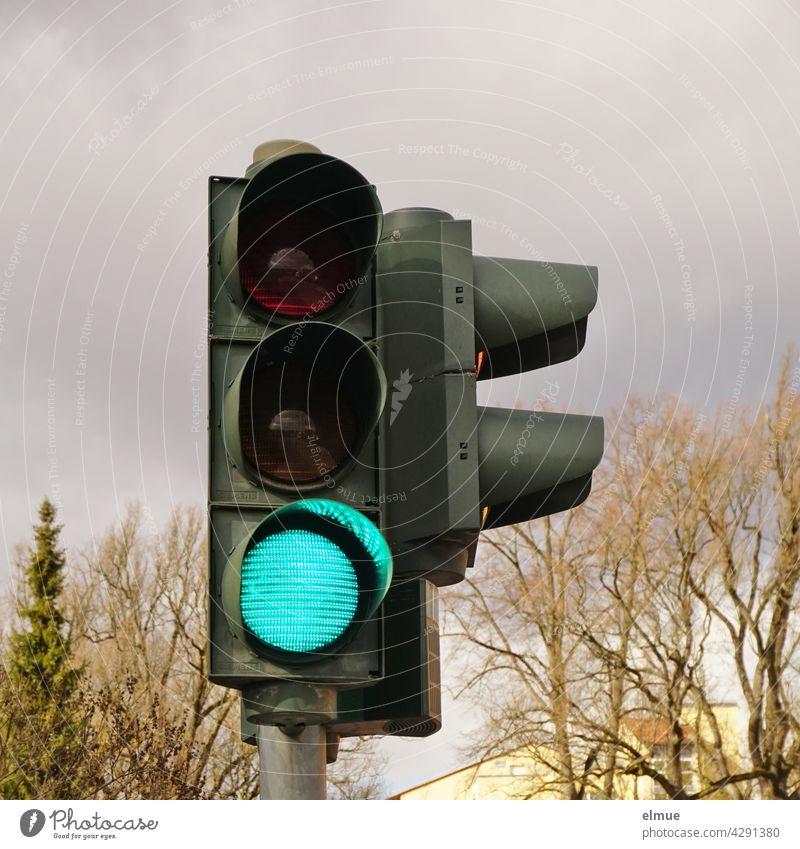 Eine Verkehrsampel an einem Fußgängerübergang steht für Fahrzeuge auf grün / Lichtzeichenanlage / freie Fahrt Ampel Lichtsignalanlage Straßenverkehr Ampelanlage