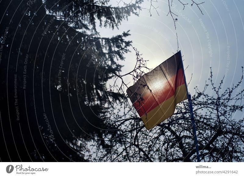 Flagge zeigen - Deutschlandfahne im Gegenlicht schwarzrotgold EM Bäume Nationalflagge Patriotismus Politik & Staat Deutsche Flagge