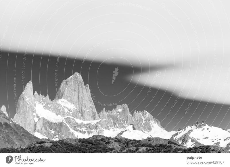 Fitz Roy Weißer Schleier Abenteuer Argentinien Schwarzweißfoto ruhig Windstille Chile Wolken Wald Mond Mondaufgang Berge u. Gebirge Nacht Patagonien unverdorben