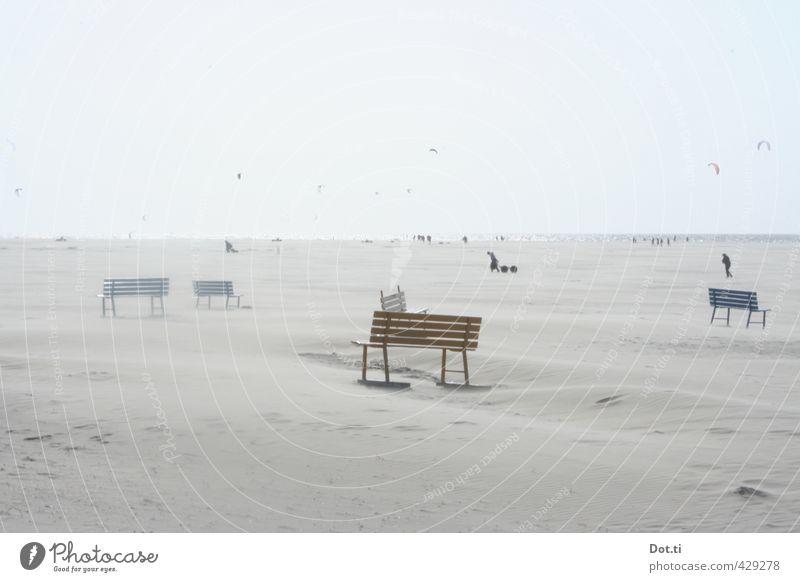 zandbanken Freizeit & Hobby Ferien & Urlaub & Reisen Ferne Sommer Sommerurlaub Strand Sport Kiting Sand Himmel Horizont Wind Küste hell Freiheit Bank