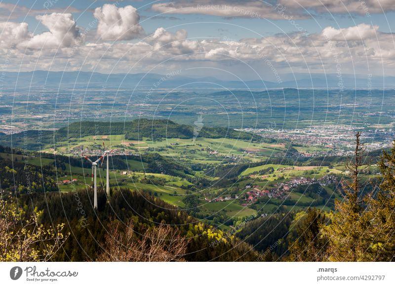 Windkraft Natur Wald Himmel Wolken Schönes Wetter Landschaft Sommer Horizont Hügel Windkraftanlage Umwelt Windrad nachhaltig