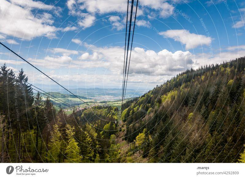 Rheintal Natur Wald Himmel Wolken Schönes Wetter Landschaft Seilbahn Sommer Horizont Hügel