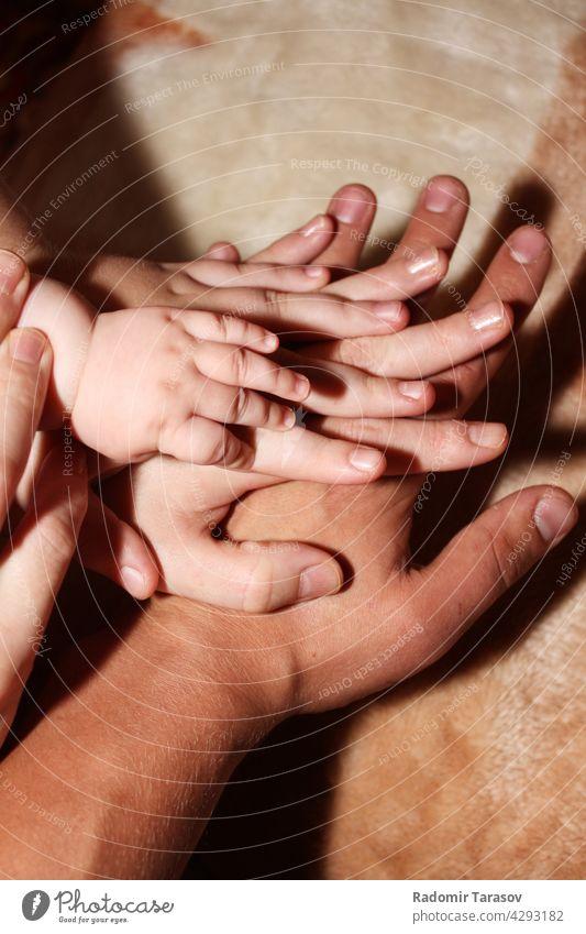 Hände von Papa, Mama und ihren Kindern Eltern Liebe Hand Pflege Mutter wenig Vater Familie Säugling Schutz Kindheit Menschen Mädchen jung Beteiligung Baby