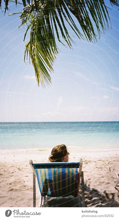 Dreaming . . . Frau Himmel Sonne Meer Strand Ferien & Urlaub & Reisen Erholung Palme Paradies Thailand Liegestuhl Los Angeles