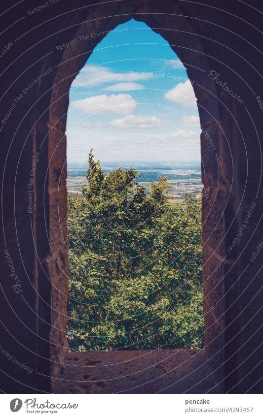 weit weg | hinterm horizont Aussicht fenster Horizont Landschaft Burg Natur Mittelalter Burg Hohenzollern Baden Württemberg Fernsicht Blick Sehenswürdigkeit