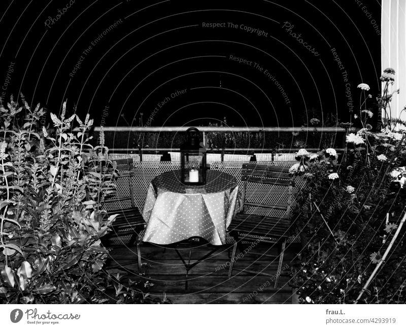 Dachterrasse in der Nacht Sommer Blume Balkon Laterne Tisch Stuhl Terrasse Abend Minze Lorbeer Möhre Pfefferminze Glockenblume Natur Sonnenblume Windlicht Kerze