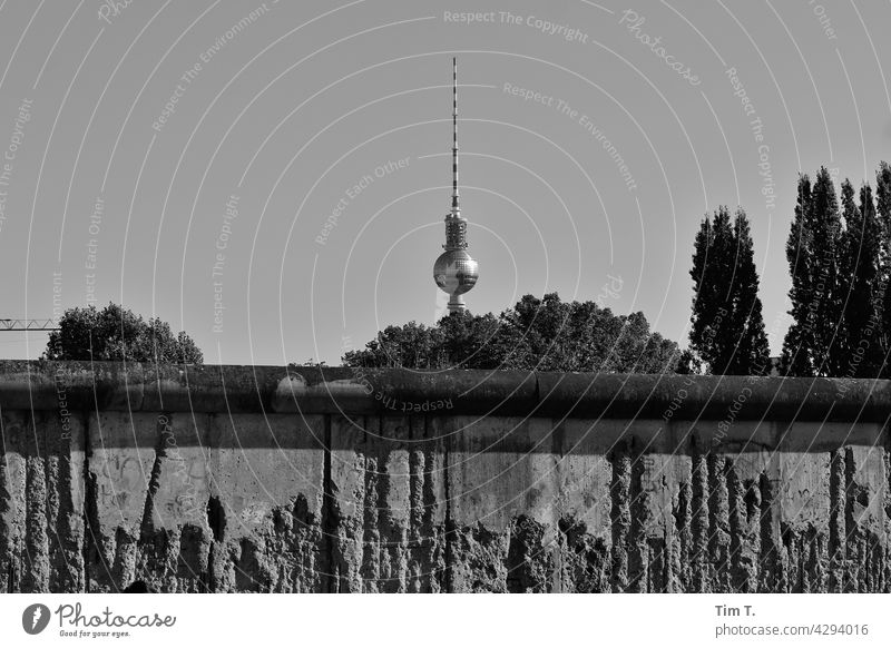 Blick über die Berliner Mauer zum Fernsehturm s/w bernauer straße wedding Prenzlauer Berg Hauptstadt Stadt Grenze Menschenleer Bauwerk Altstadt Gebäude