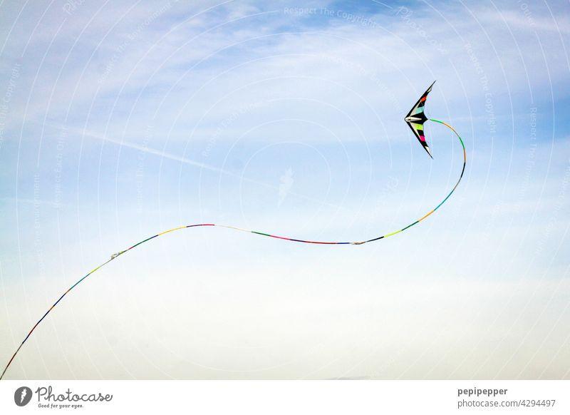 bunter Flugdrachen Drachenfliegen Drachenfest Drachen steigen lassen drachensteigen flugdrachen Himmel Freizeit & Hobby Freude blau Wind Spielen Luft Herbst