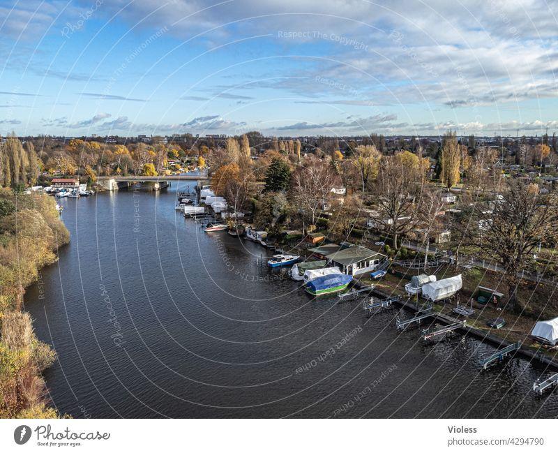 fly away - bille von oben Hamburg Hamm Fluss Nebenfluss Kanu Anlegestelle Drohne Luftaufnahme Bille Braune Brücke